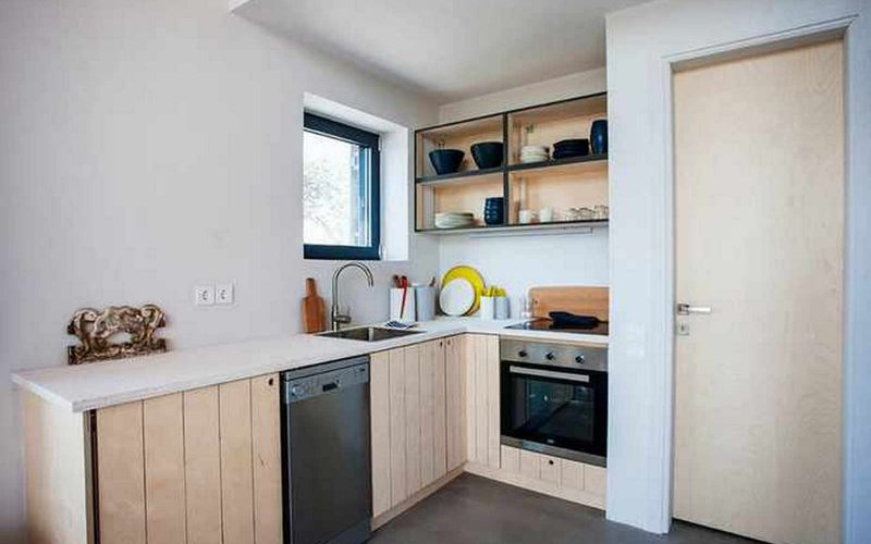Complex of cottages with best views to the Aegean Sea Loft cottage kitchen
