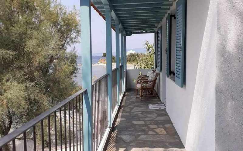 Beachfront Villa for sale on Skopelos Island The balcony