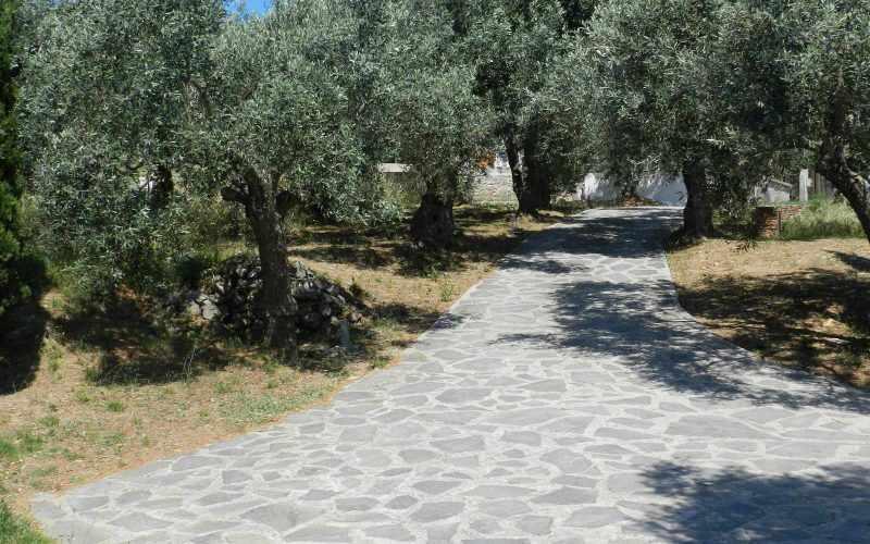 Architect designed Villa in the countryside of Skopelos Island Driveway