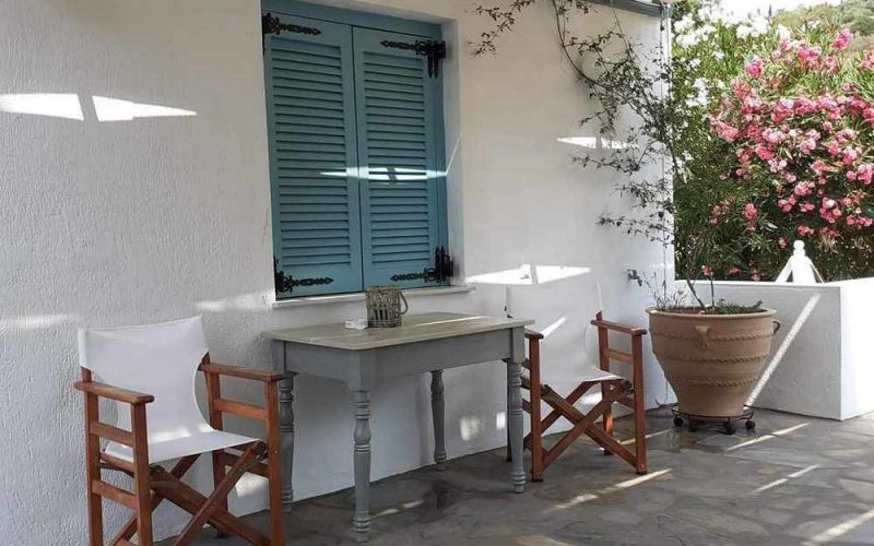 Beachfront Villa for sale on Skopelos Island The front terrace
