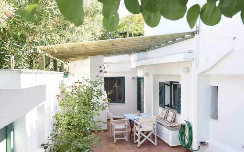 Beachfront Villa for sale on Skopelos Island The back yard BBQ area