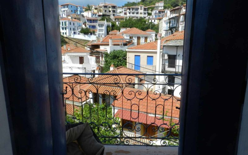 Two Town Houses both with yards inside Skopelos Town The balcony