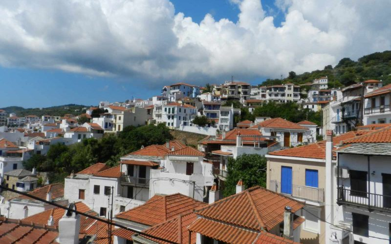 Two Town Houses both with yards inside Skopelos Town The views