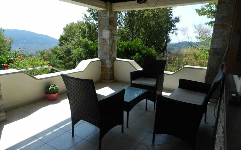 Villa with swimming pool and stunning views to the Sporades Islands The villa porch