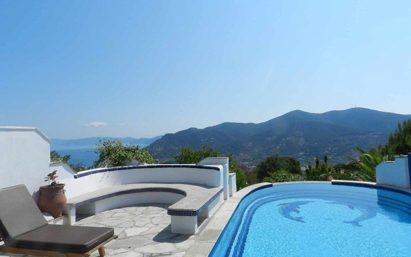 Villa with swimming pool and stunning views to the Sporades Islands The pool area