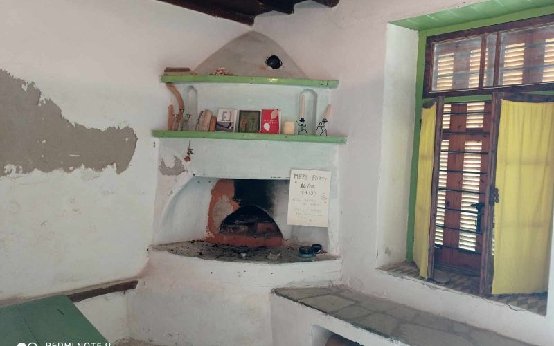Traditional property in Old Klima village on Skopelos Island Fireplace