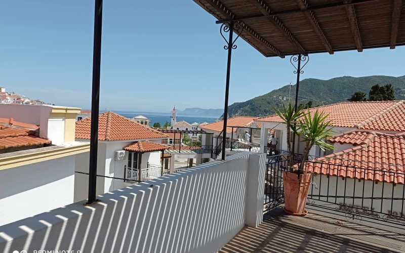 Traditional Town house with terrace and views to Skopelos Town and port Terrace