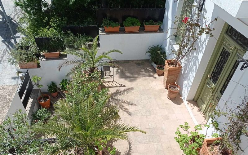 Traditional Town house with terrace and views to Skopelos Town and port Yard